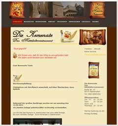 Internetauftritt Mittelalterrestaurant Die Kemenate