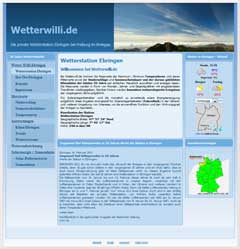 Internetauftritt WetterWilli Wetterstatistik